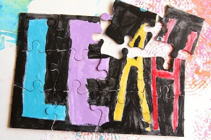 Idée de bricolage de puzzle pour les enfants