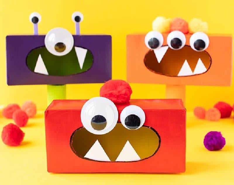 Idée de bricolage pour un monstre en boîte de mouchoirs